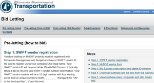 Screenshot of the MnDOT Bid Letting web page.