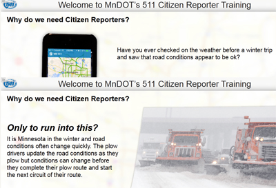 Screenshots from the 511 citizen reporter website.