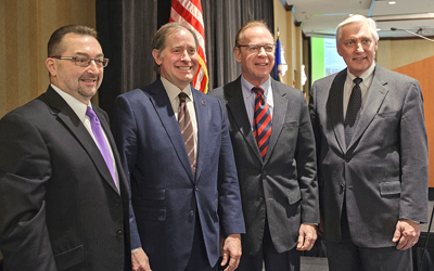Photo of Tom Sorel, Charlie Zelle, Len Levine and Elwyn Tinklenberg.